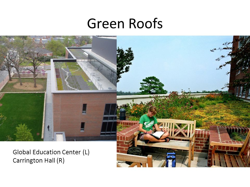 Green Roofs Global Education Center (L) Carrington Hall (R)