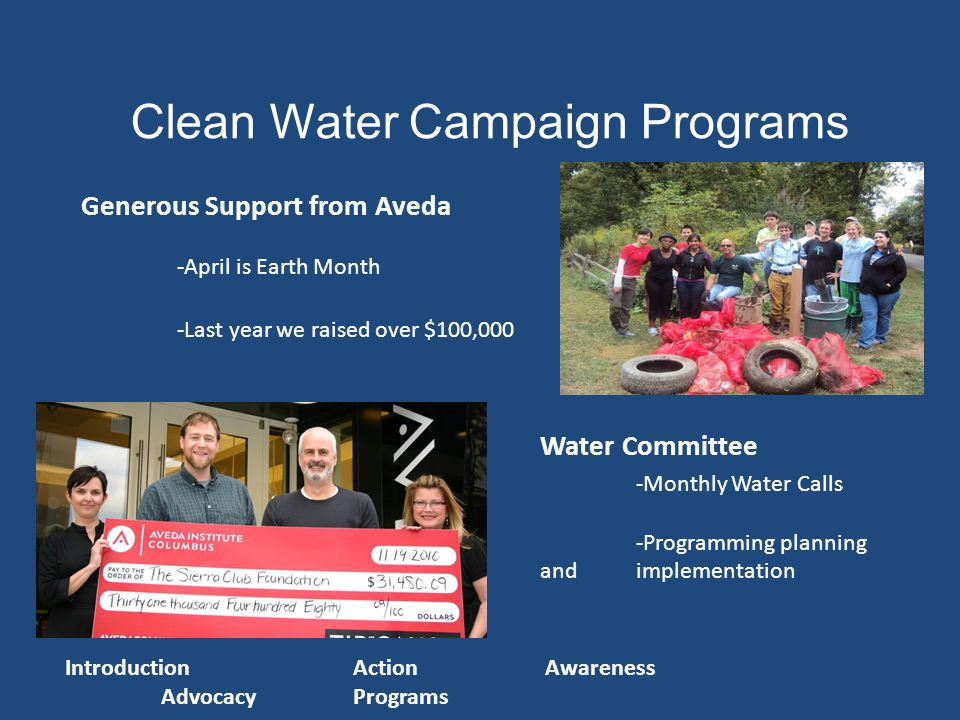 Clean Water Campaign Programs Water Committee -Monthly Water Calls -Programming planning and implementation Generous Support from Aveda -April is Earth Month -Last year we raised over $100,000 IntroductionActionAwareness AdvocacyPrograms
