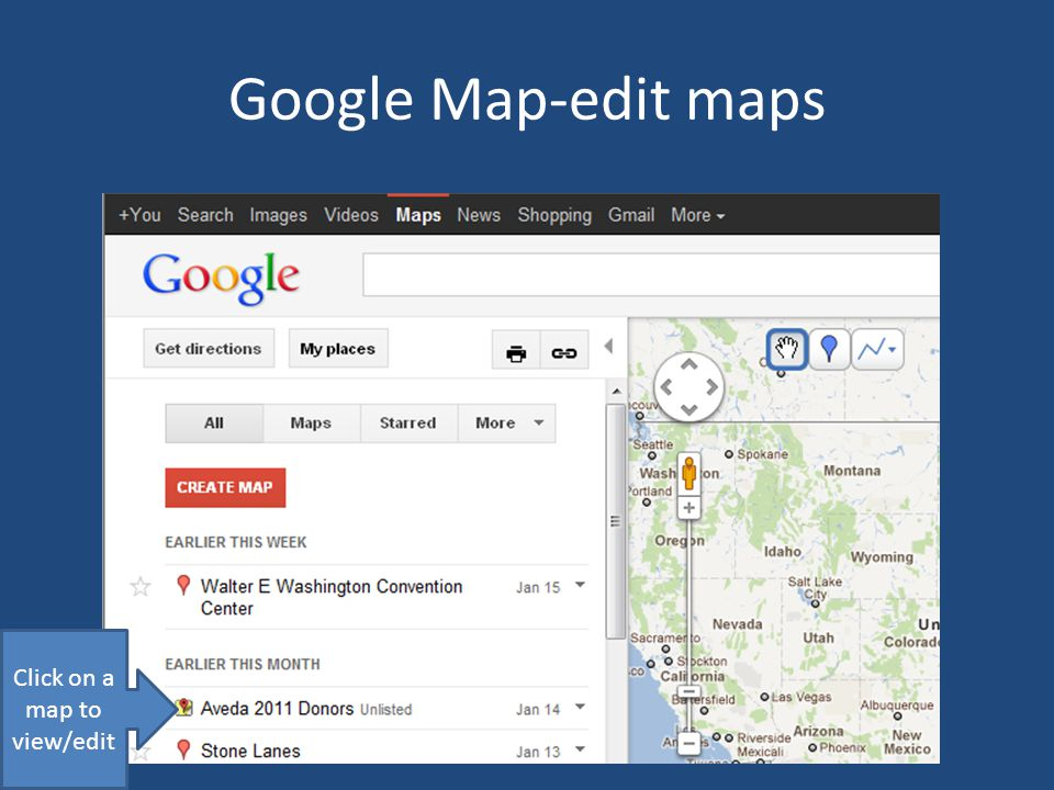 Google Map-edit maps Click on a map to view/edit