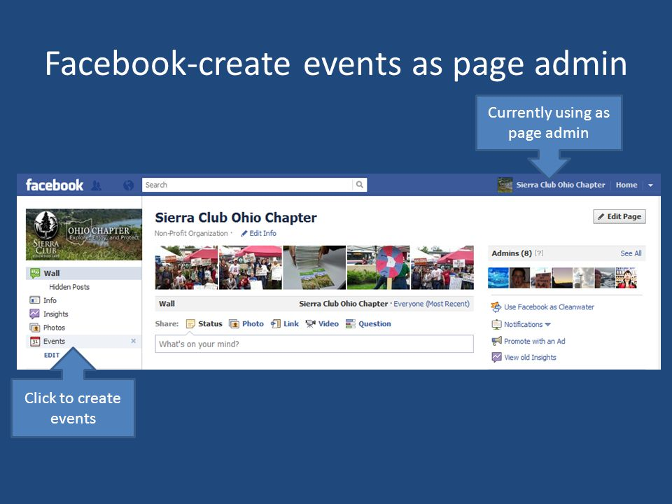 Facebook-create events as page admin Currently using as page admin Click to create events