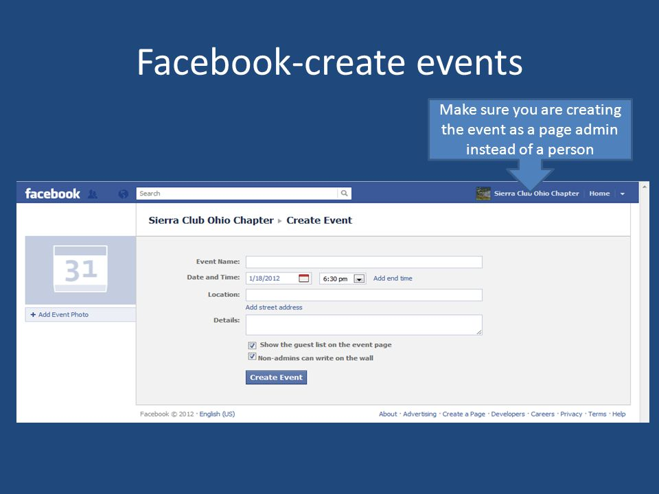 Facebook-create events Make sure you are creating the event as a page admin instead of a person