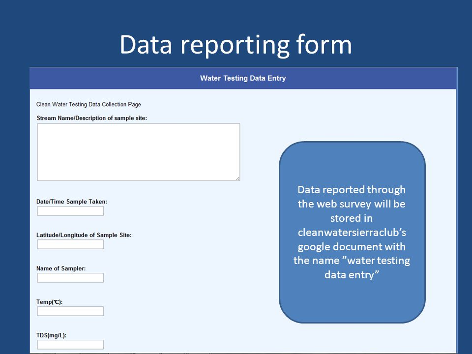 Data reporting form Data reported through the web survey will be stored in cleanwatersierraclubs google document with the name water testing data entry