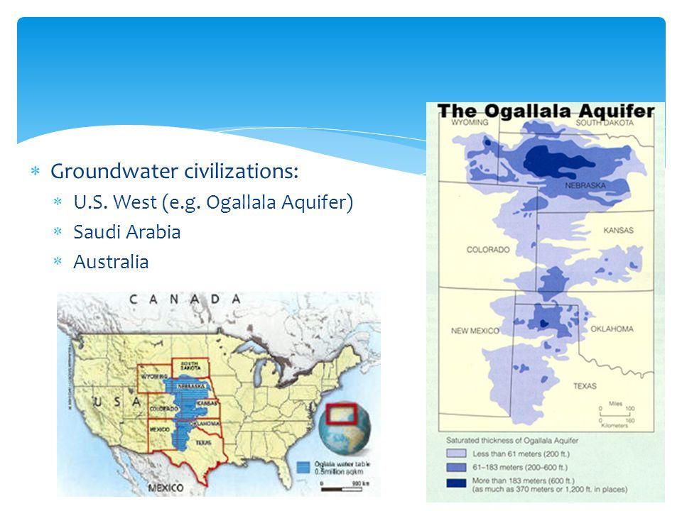 Groundwater civilizations: U.S. West (e.g. Ogallala Aquifer) Saudi Arabia Australia