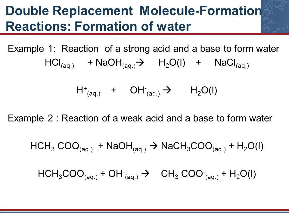 Double Replacement Molecule-Formation Reactions: Formation of water Example 1: Reaction of a strong acid and a base to form water HCl (aq.) + NaOH (aq