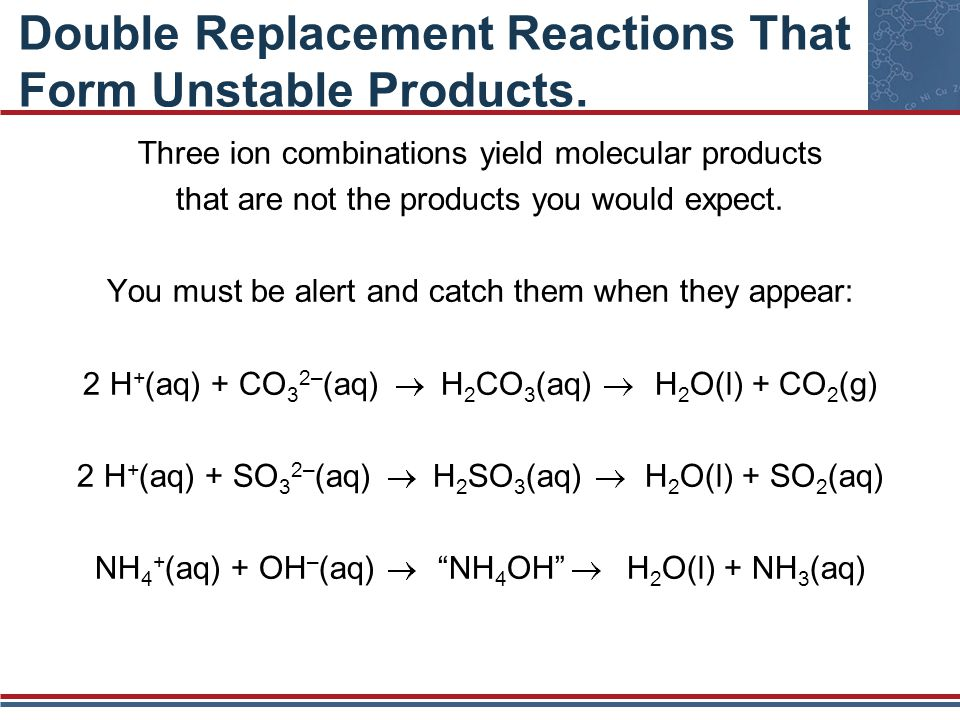 Double Replacement Reactions That Form Unstable Products. Three ion combinations yield molecular products that are not the products you would expect.
