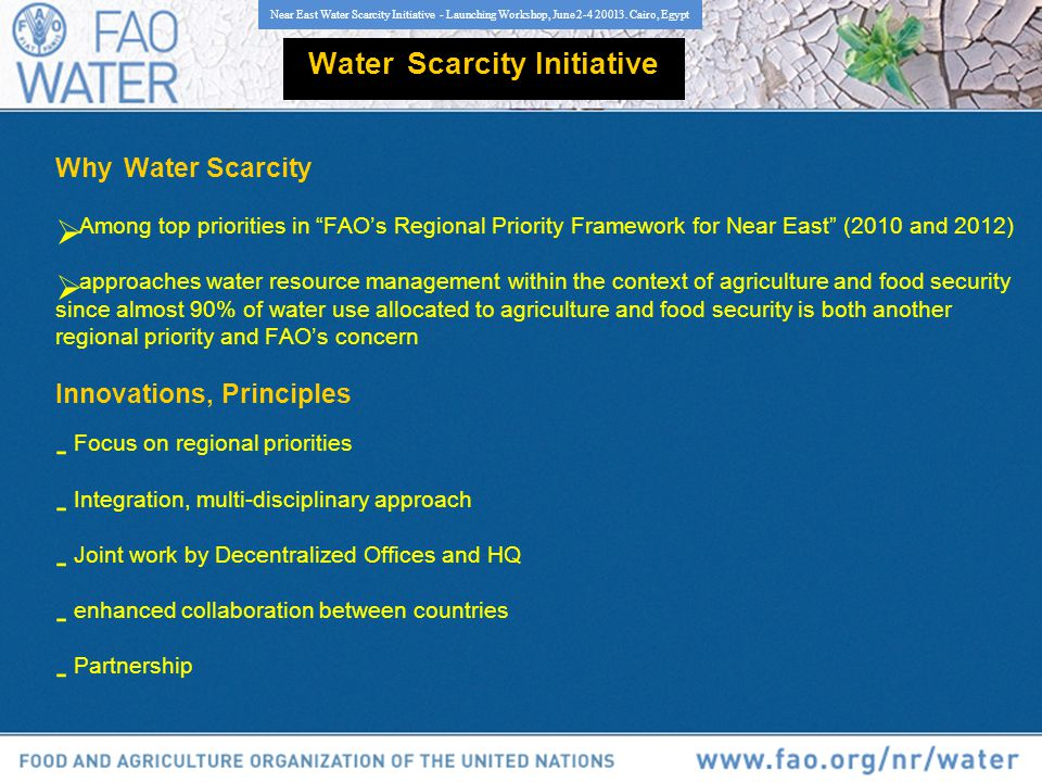 Why Water Scarcity Among top priorities in FAOs Regional Priority Framework for Near East (2010 and 2012) approaches water resource management within the context of agriculture and food security since almost 90% of water use allocated to agriculture and food security is both another regional priority and FAOs concern Innovations, Principles - Focus on regional priorities - Integration, multi-disciplinary approach - Joint work by Decentralized Offices and HQ - enhanced collaboration between countries - Partnership Near East Water Scarcity Initiative - Launching Workshop, June 2-4 20013.