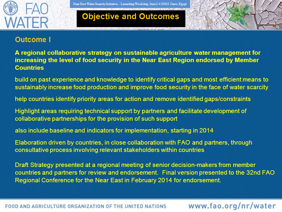 Outcome I A regional collaborative strategy on sustainable agriculture water management for increasing the level of food security in the Near East Region endorsed by Member Countries build on past experience and knowledge to identify critical gaps and most efficient means to sustainably increase food production and improve food security in the face of water scarcity help countries identify priority areas for action and remove identified gaps/constraints Highlight areas requiring technical support by partners and facilitate development of collaborative partnerships for the provision of such support also include baseline and indicators for implementation, starting in 2014 Elaboration driven by countries, in close collaboration with FAO and partners, through consultative process involving relevant stakeholders within countries Draft Strategy presented at a regional meeting of senior decision-makers from member countries and partners for review and endorsement.