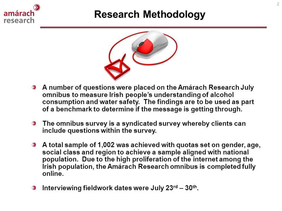 2 A number of questions were placed on the Amárach Research July omnibus to measure Irish peoples understanding of alcohol consumption and water safety.