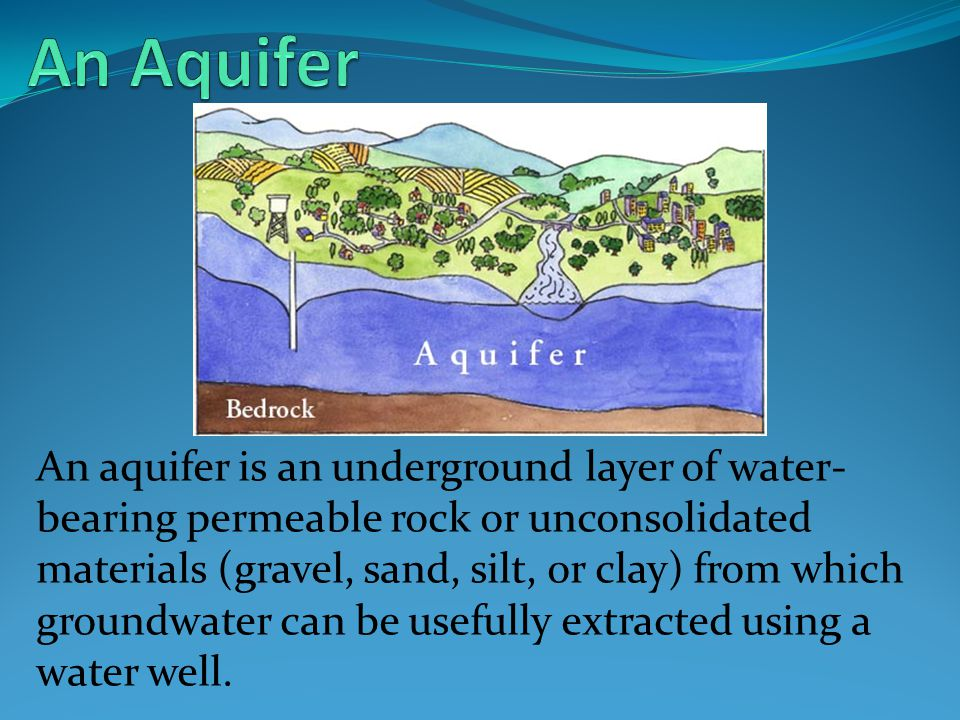 An aquifer is an underground layer of water- bearing permeable rock or unconsolidated materials (gravel, sand, silt, or clay) from which groundwater can be usefully extracted using a water well.