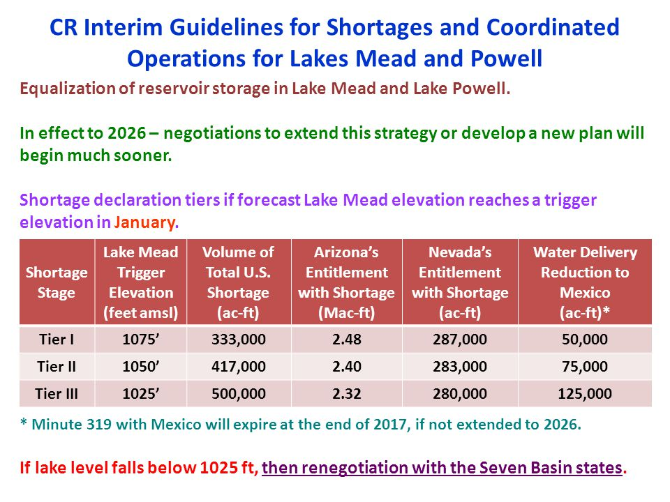 CR Interim Guidelines for Shortages and Coordinated Operations for Lakes Mead and Powell Equalization of reservoir storage in Lake Mead and Lake Powel
