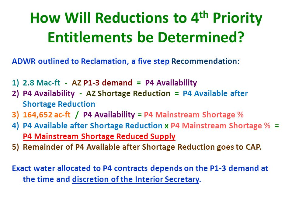 How Will Reductions to 4 th Priority Entitlements be Determined.