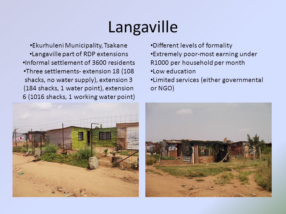 Langaville Different levels of formality Extremely poor-most earning under R1000 per household per month Low education Limited services (either governmental or NGO) Ekurhuleni Municipality, Tsakane Langaville part of RDP extensions Informal settlement of 3600 residents Three settlements- extension 18 (108 shacks, no water supply), extension 3 (184 shacks, 1 water point), extension 6 (1016 shacks, 1 working water point)