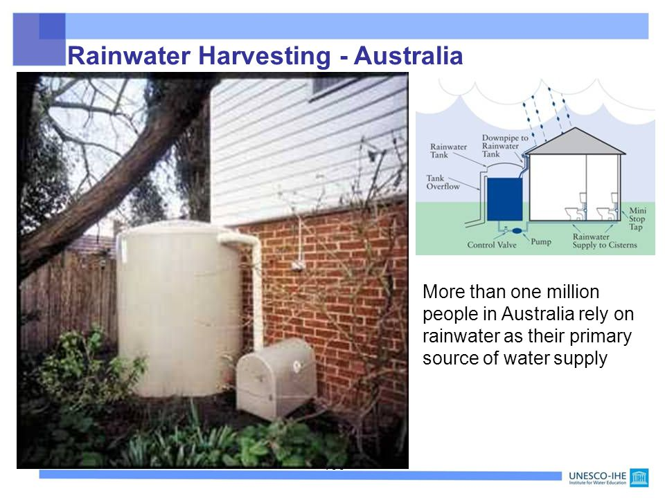 100 Rainwater Harvesting - Australia More than one million people in Australia rely on rainwater as their primary source of water supply