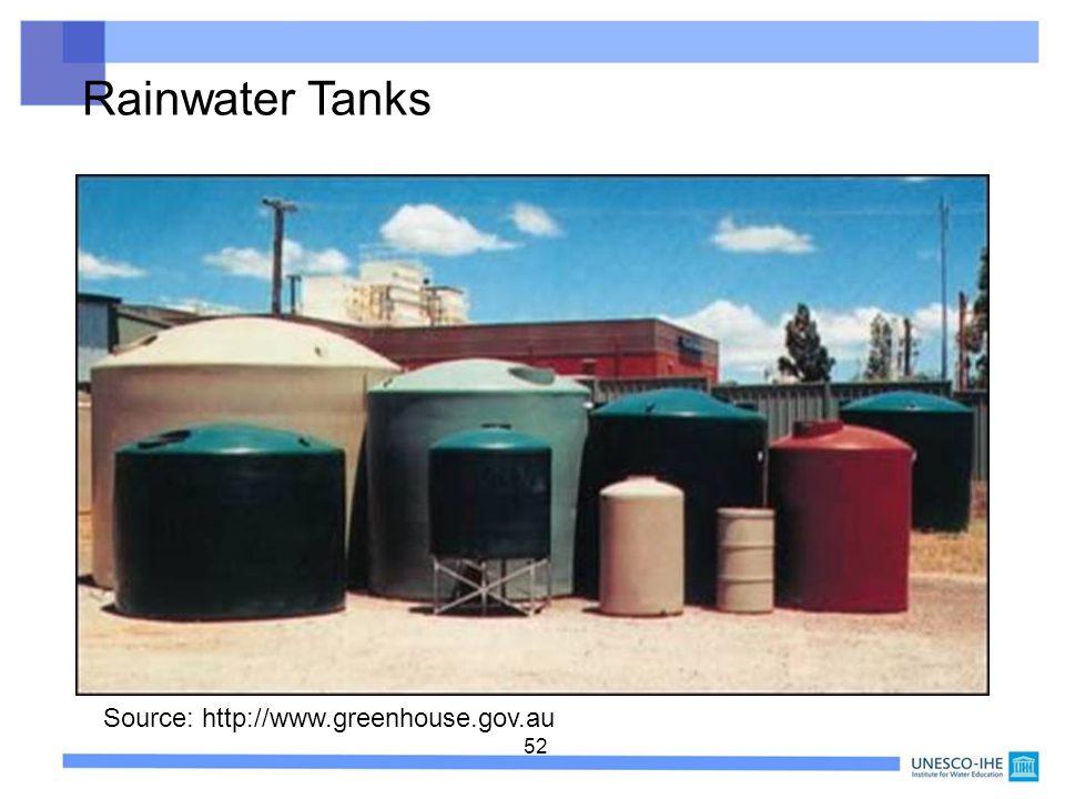 52 Source: http://www.greenhouse.gov.au Rainwater Tanks