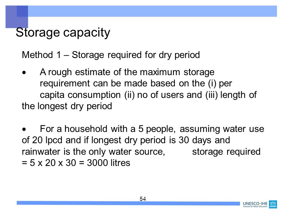 54 Storage capacity Method 1 – Storage required for dry period A rough estimate of the maximum storage requirement can be made based on the (i) per ca