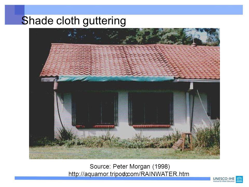 70 Shade cloth guttering Source: Peter Morgan (1998) http://aquamor.tripod.com/RAINWATER.htm