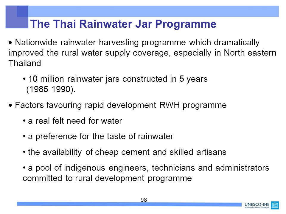 98 Nationwide rainwater harvesting programme which dramatically improved the rural water supply coverage, especially in North eastern Thailand 10 mill