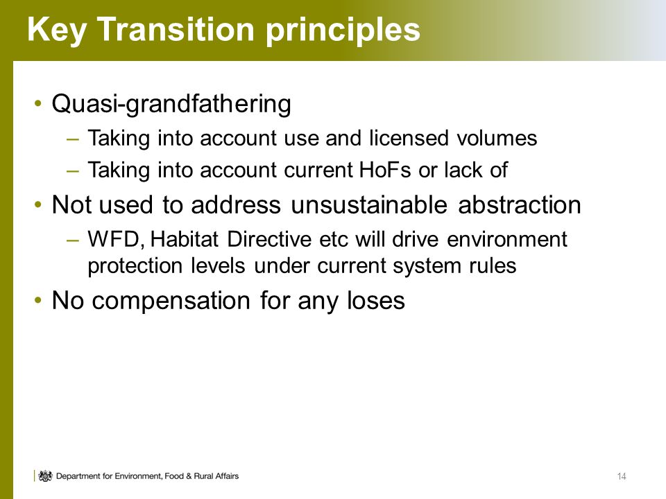 Key Transition principles 14 Quasi-grandfathering –Taking into account use and licensed volumes –Taking into account current HoFs or lack of Not used