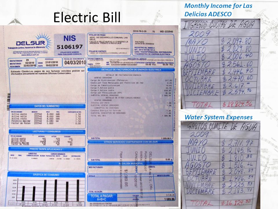 Electric Bill Monthly Income for Las Delicias ADESCO Water System Expenses