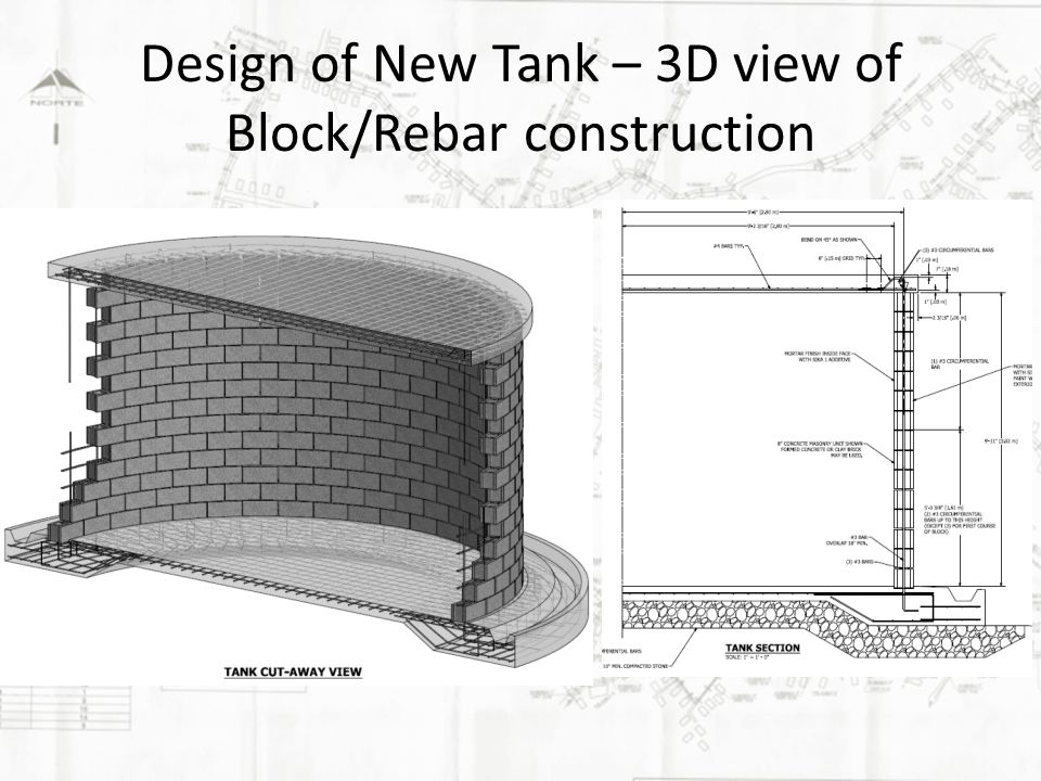 Design of New Tank – 3D view of Block/Rebar construction
