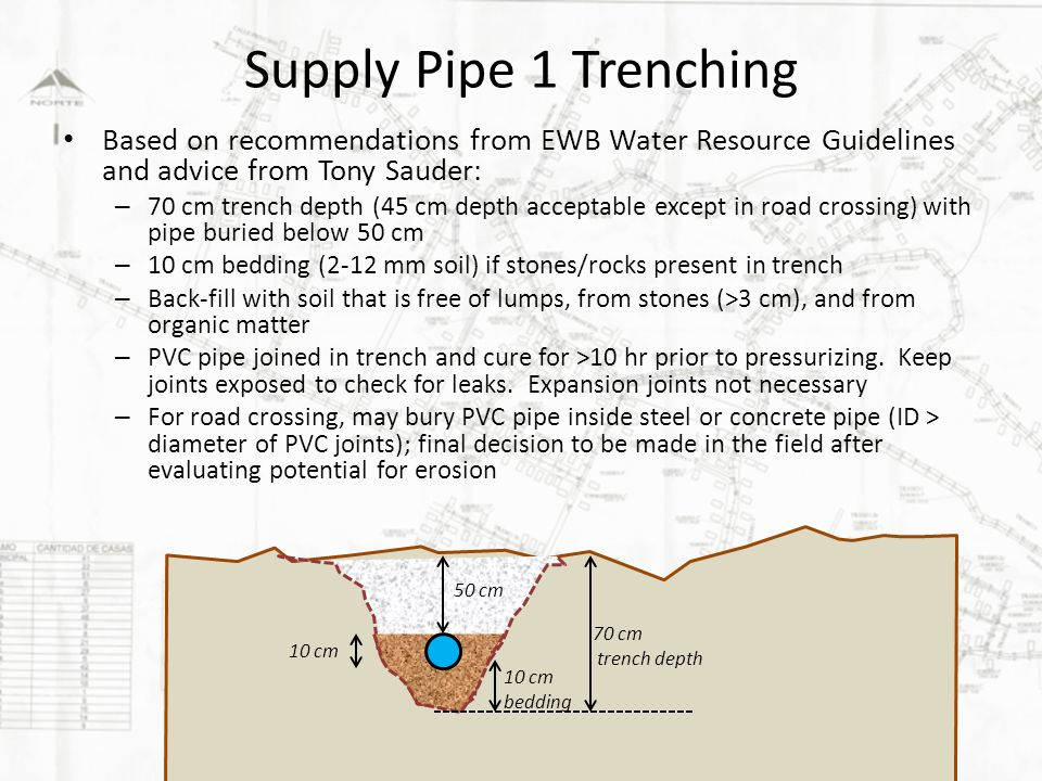 Supply Pipe 1 Trenching Based on recommendations from EWB Water Resource Guidelines and advice from Tony Sauder: – 70 cm trench depth (45 cm depth acceptable except in road crossing) with pipe buried below 50 cm – 10 cm bedding (2-12 mm soil) if stones/rocks present in trench – Back-fill with soil that is free of lumps, from stones (>3 cm), and from organic matter – PVC pipe joined in trench and cure for >10 hr prior to pressurizing.