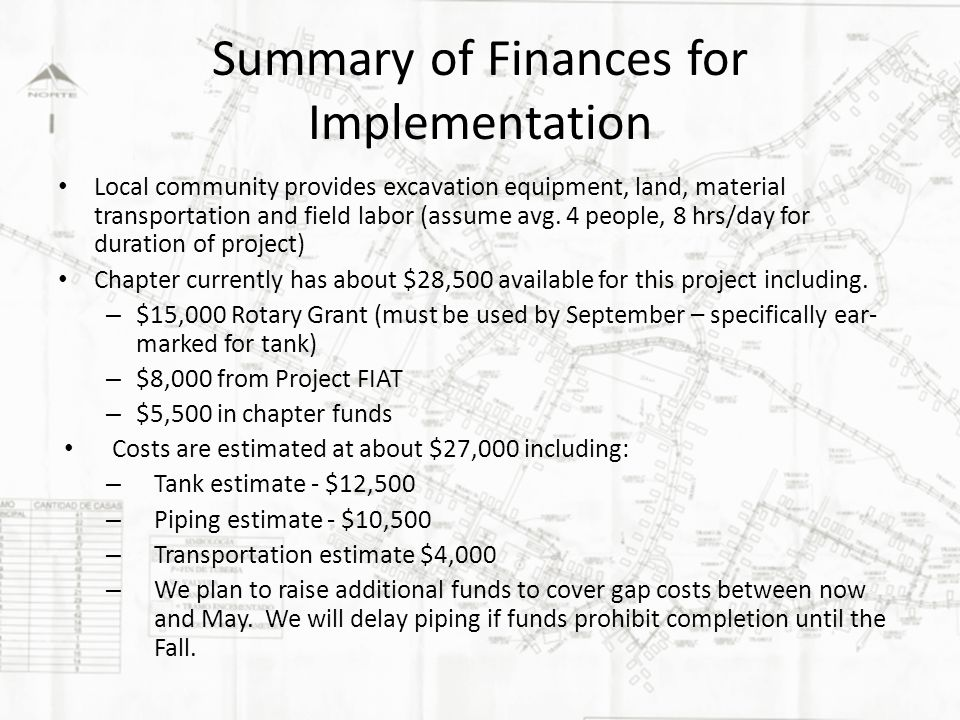 Summary of Finances for Implementation Local community provides excavation equipment, land, material transportation and field labor (assume avg.