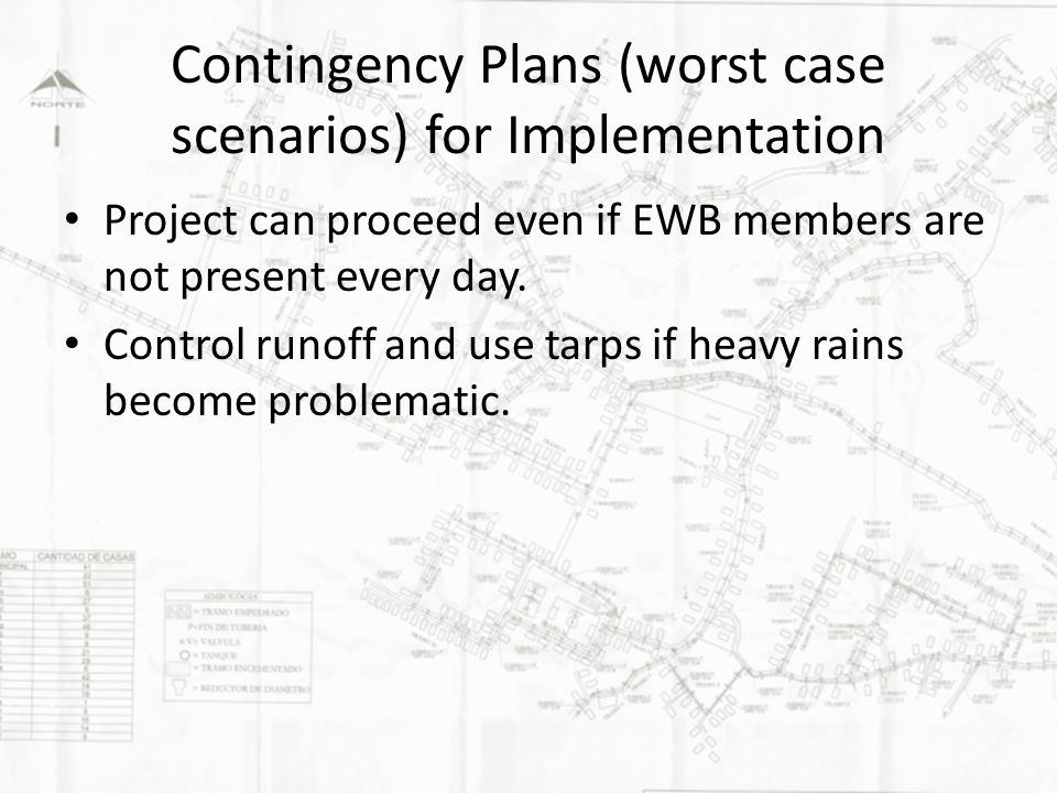Contingency Plans (worst case scenarios) for Implementation Project can proceed even if EWB members are not present every day.