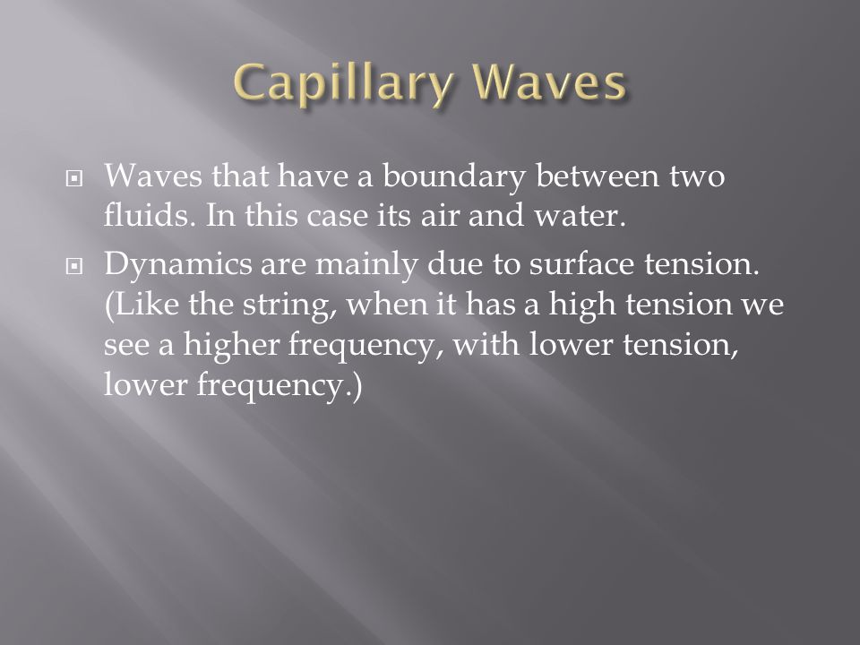 Waves that have a boundary between two fluids. In this case its air and water.
