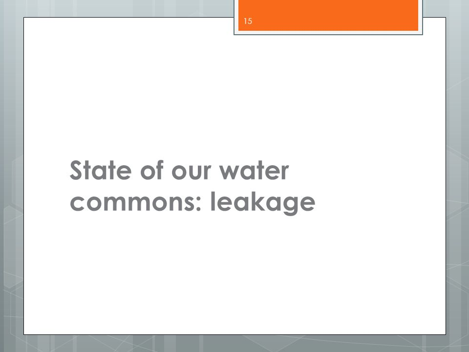 State of our water commons: leakage 15