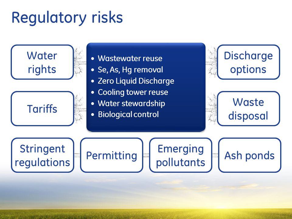 16 Regulatory risks Water rights Tariffs Discharge options Stringent regulations Ash ponds Waste disposal Permitting Emerging pollutants Wastewater reuse Se, As, Hg removal Zero Liquid Discharge Cooling tower reuse Water stewardship Biological control Wastewater reuse Se, As, Hg removal Zero Liquid Discharge Cooling tower reuse Water stewardship Biological control