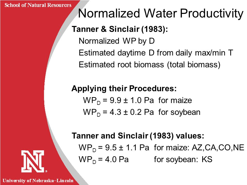 University of Nebraska Lincoln R School of Natural Resources Normalized Water Productivity Tanner & Sinclair (1983): Normalized WP by D Estimated dayt