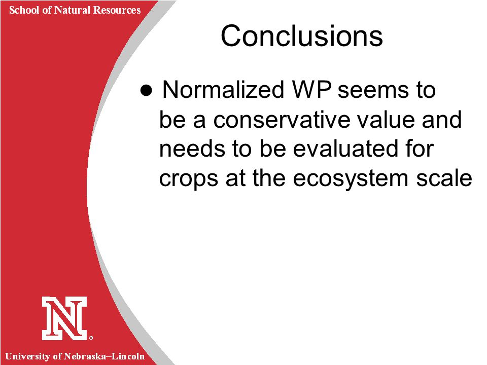 University of Nebraska Lincoln R School of Natural Resources Conclusions Normalized WP seems to be a conservative value and needs to be evaluated for