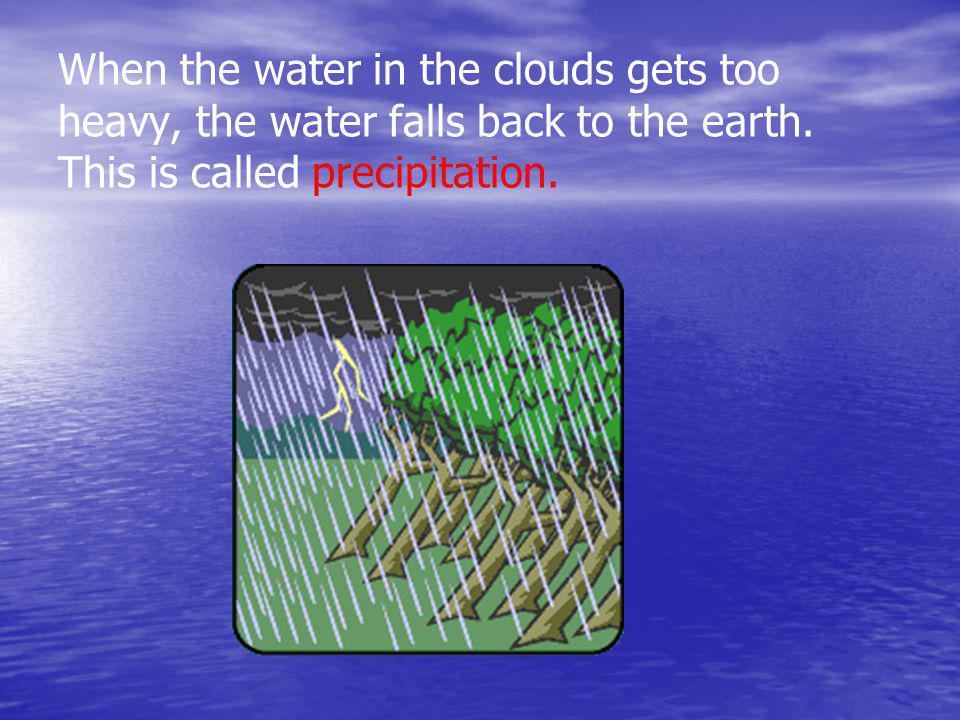 When the water in the clouds gets too heavy, the water falls back to the earth.