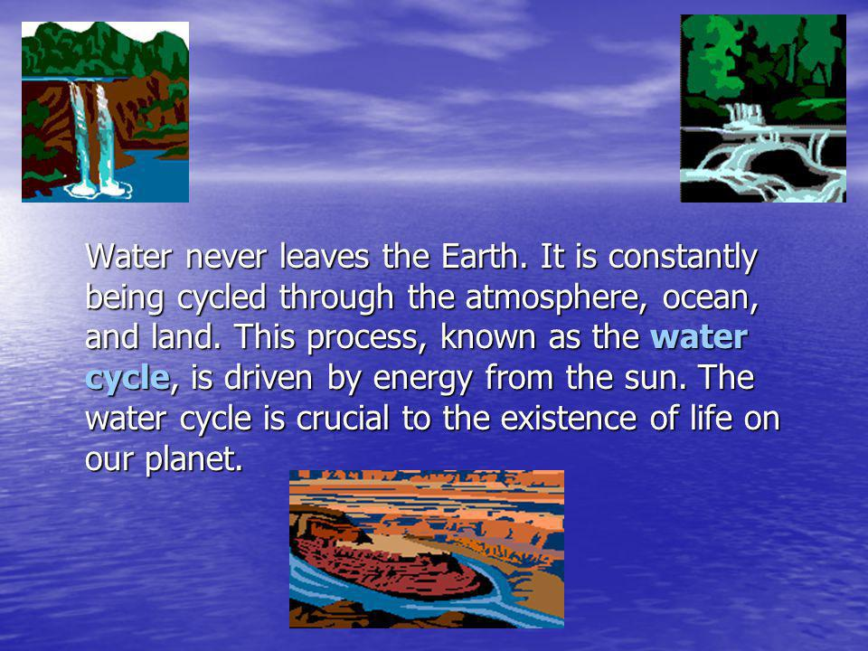 Water never leaves the Earth.