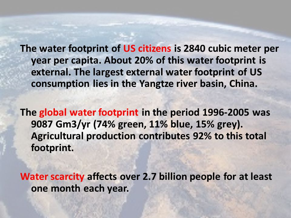 The water footprint of US citizens is 2840 cubic meter per year per capita.