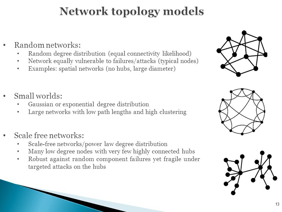 Random networks: Random degree distribution (equal connectivity likelihood) Network equally vulnerable to failures/attacks (typical nodes) Examples: spatial networks (no hubs, large diameter) Small worlds: Gaussian or exponential degree distribution Large networks with low path lengths and high clustering Scale free networks: Scale-free networks/power law degree distribution Many low degree nodes with very few highly connected hubs Robust against random component failures yet fragile under targeted attacks on the hubs 13