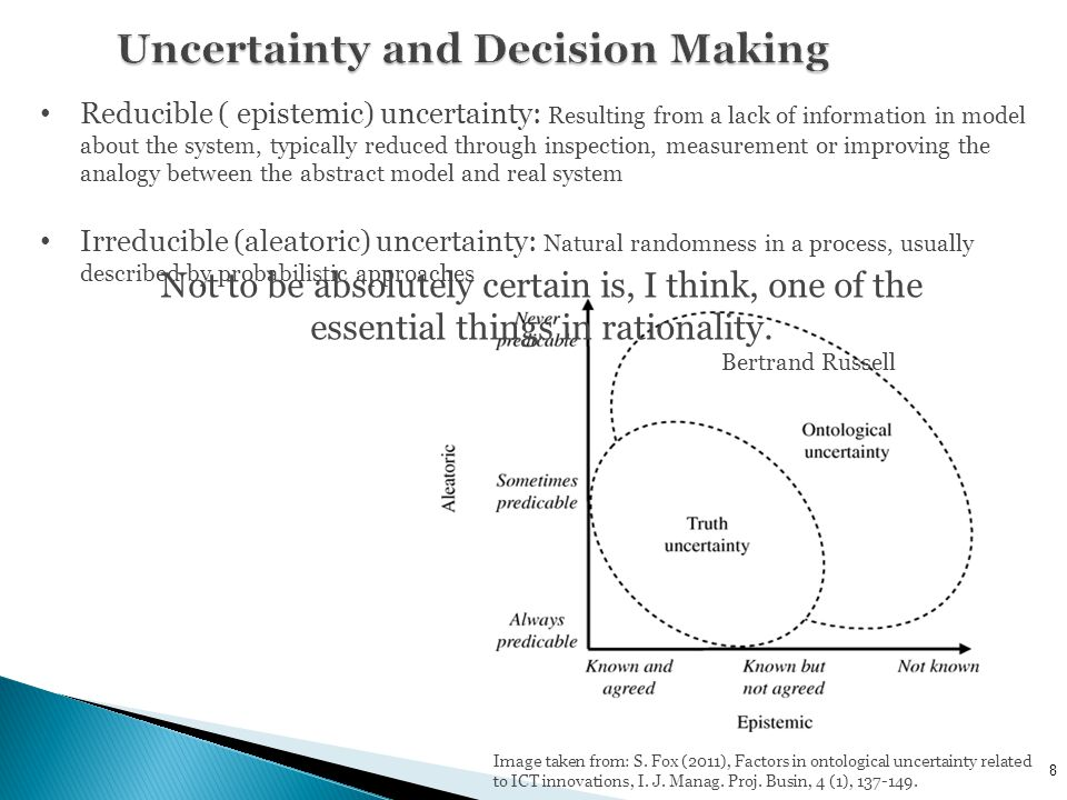 8 Reducible ( epistemic) uncertainty: Resulting from a lack of information in model about the system, typically reduced through inspection, measurement or improving the analogy between the abstract model and real system Irreducible (aleatoric) uncertainty: Natural randomness in a process, usually described by probabilistic approaches Image taken from: S.