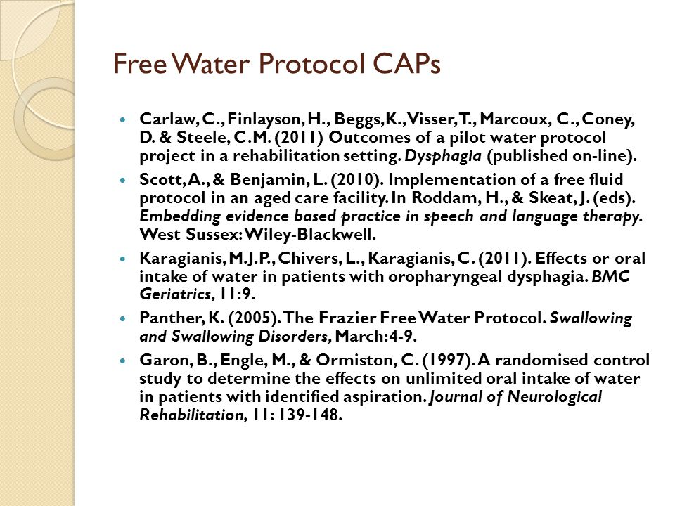 Free Water Protocol CAPs Carlaw, C., Finlayson, H., Beggs,K., Visser, T., Marcoux, C., Coney, D.
