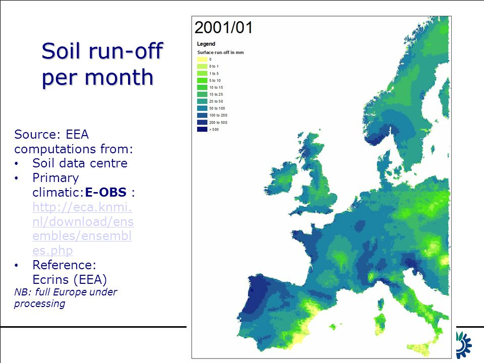 Soil run-off per month Source: EEA computations from: Soil data centre Primary climatic:E-OBS : http://eca.knmi. nl/download/ens embles/ensembl es.php