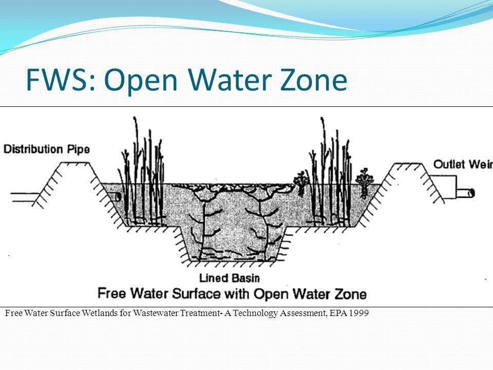FWS: Open Water Zone Free Water Surface Wetlands for Wastewater Treatment- A Technology Assessment, EPA 1999