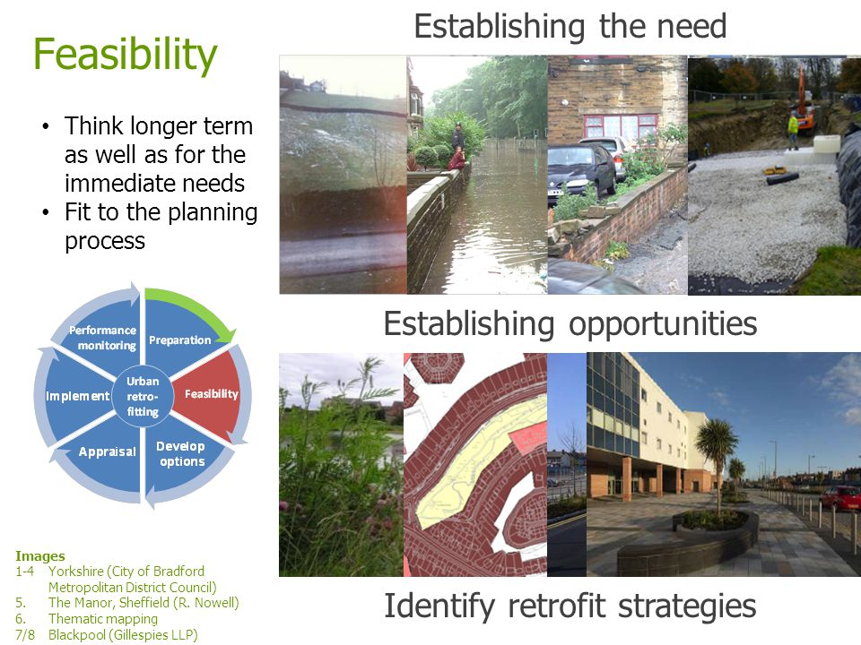 www.ciria.org/suds Feasibility Think longer term as well as for the immediate needs Fit to the planning process Establishing the need Establishing opp