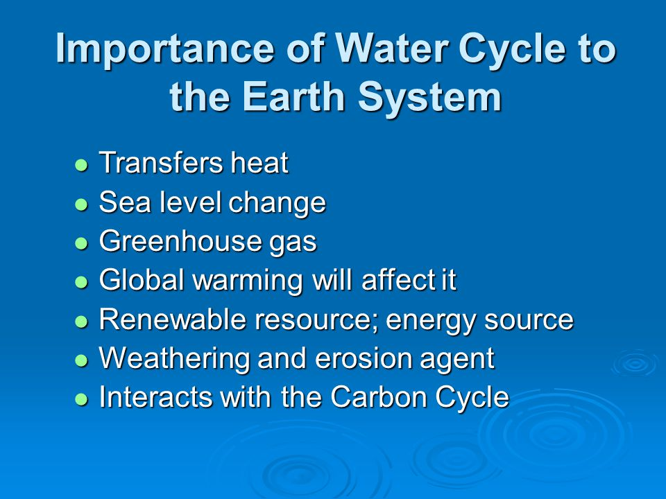 Importance of Water Cycle to the Earth System Transfers heat Transfers heat Sea level change Sea level change Greenhouse gas Greenhouse gas Global warming will affect it Global warming will affect it Renewable resource; energy source Renewable resource; energy source Weathering and erosion agent Weathering and erosion agent Interacts with the Carbon Cycle Interacts with the Carbon Cycle