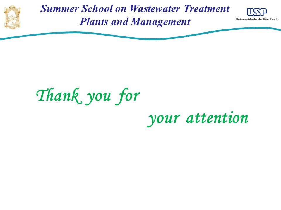 Summer School on Wastewater Treatment Plants and Management Thank you for your attention