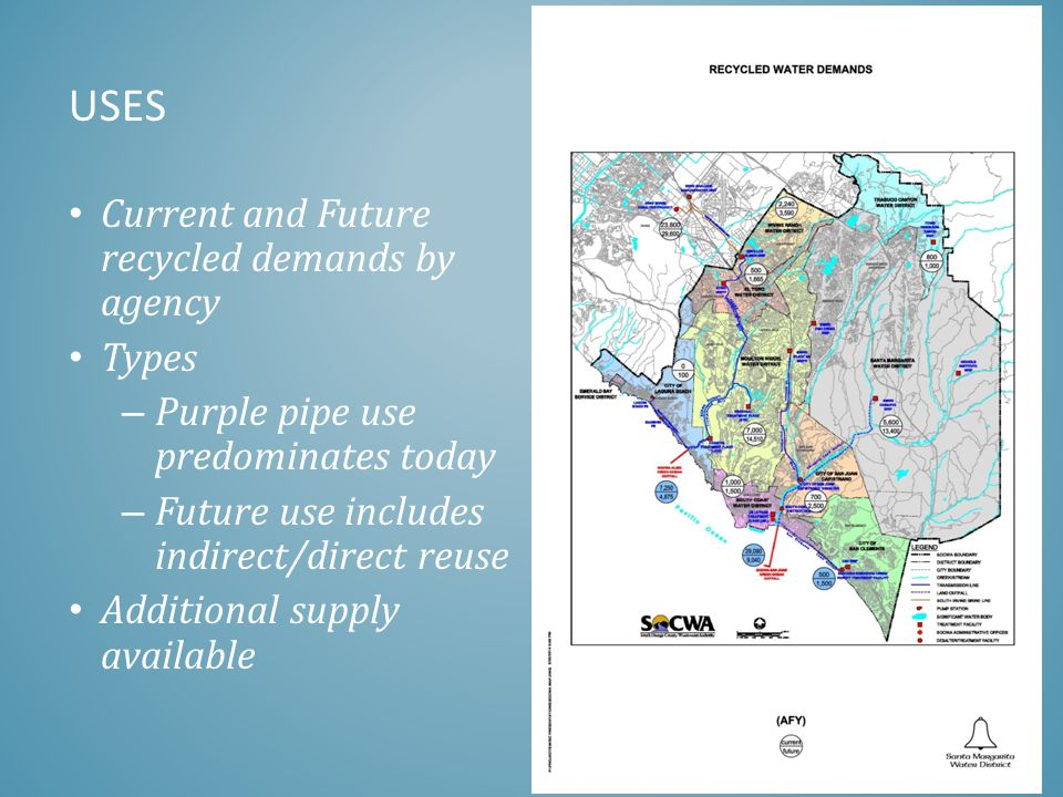 USES Current and Future recycled demands by agency Types – Purple pipe use predominates today – Future use includes indirect/direct reuse Additional s