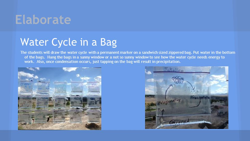 Elaborate Water Cycle in a Bag The students will draw the water cycle with a permanent marker on a sandwich sized zippered bag. Put water in the botto
