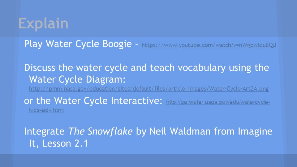 Explain Play Water Cycle Boogie - https://www.youtube.com/watch?v=nWgpwldu8QU https://www.youtube.com/watch?v=nWgpwldu8QU Discuss the water cycle and
