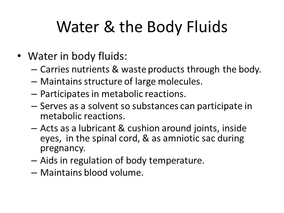 Water Balance & Recommended Intakes Fluid inside cell – Intracellular fluid Fluid outside cell – Extracellular fluid Interstitial fluid – Fluid surrounding cells Composition between the two differs.