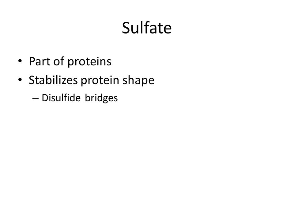 Sulfate Part of proteins Stabilizes protein shape – Disulfide bridges
