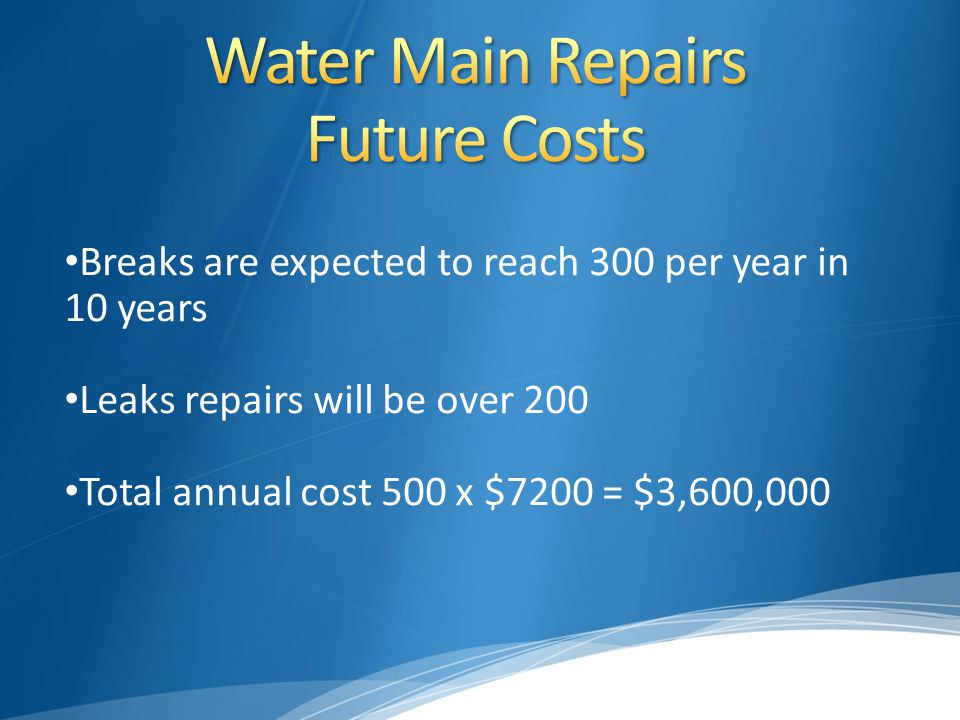 Breaks are expected to reach 300 per year in 10 years Leaks repairs will be over 200 Total annual cost 500 x $7200 = $3,600,000