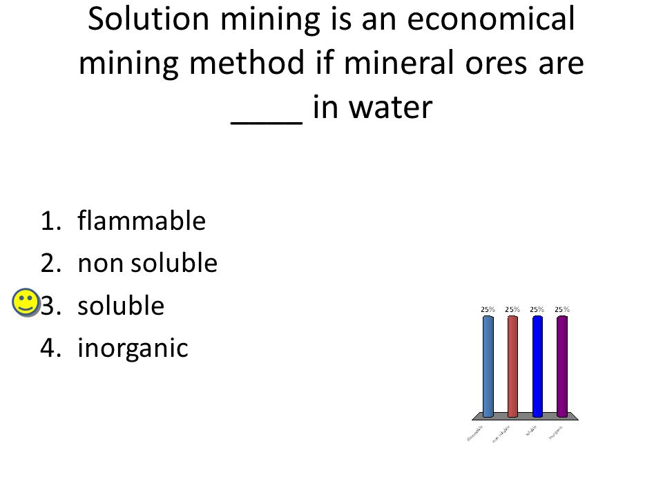 Solution mining is an economical mining method if mineral ores are ____ in water 1.flammable 2.non soluble 3.soluble 4.inorganic